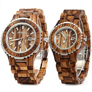 Bewell ZS-100B Couple Wooden Quartz Watch