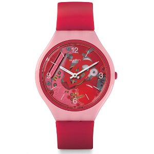 Swatch Womens Digital Quartz Watch with Silicone Strap SVOP100