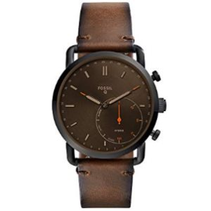 Fossil Mens Commuter Stainless Steel and Leather Hybrid Smartwatch