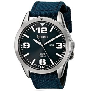 Seiko Mens SNE329 Sport Solar-Powered Stainless Steel Watch with Blue Nylon Band