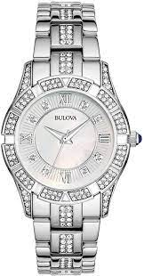 silver wrist watch with stones