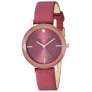 Anne Klein Womens Genuine Diamond Dial Leather Strap Watch