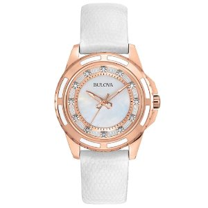 Bulova Womens 98P119 <span class='ent _Stainless_Steel'>Stainless Steel</span> Diamond-Accented Quartz Watch