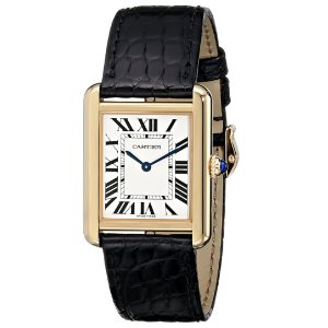 Cartier Womens W5200004 Tank Solo 18kt Yellow Gold Case Watch
