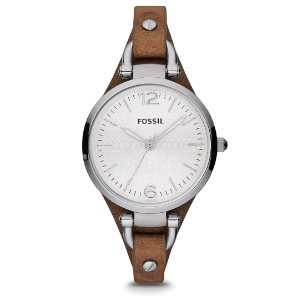 Fossil Womens Georgia Quartz Stainless Steel and Leather Casual Watch
