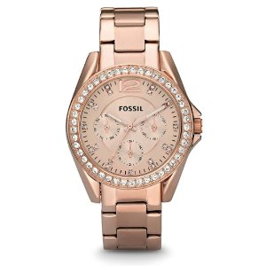 Fossil Womens Riley Rose Gold Multifunction Glitz Quartz Watch