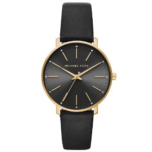 Michael Kors Womens Quartz Watch with Leather Calfskin Strap