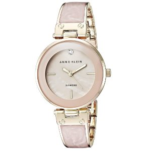 Anne Klein Womens Diamond-Accented Dial Bangle Watch