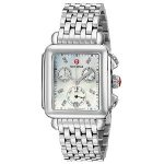 Michele Womens Deco Diamond Dial Stainless Steel Watch