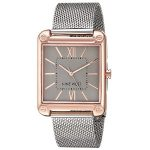 Nine West Womens Rose Gold-Tone and Silver-Tone Mesh Bracelet Watch