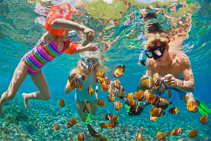Type 4 (200M) Watches for Snorkeling. Man and two kids snorkeling in bright blue water surrounded by colorful fish.
