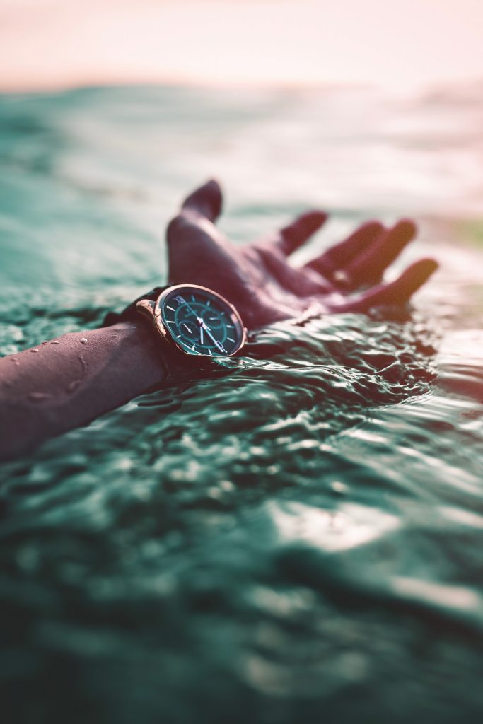 What side do women wear watches Watch worn to the inside of the wrist on the hand of a swimmer.