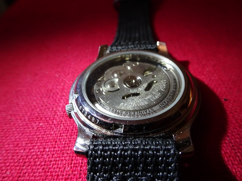 Seiko SNK809 back showing 7s26 movement. Source Johannis Hermann JEAN on Flickr https://www.flickr.com/photos/147337775@N06/32685096295/