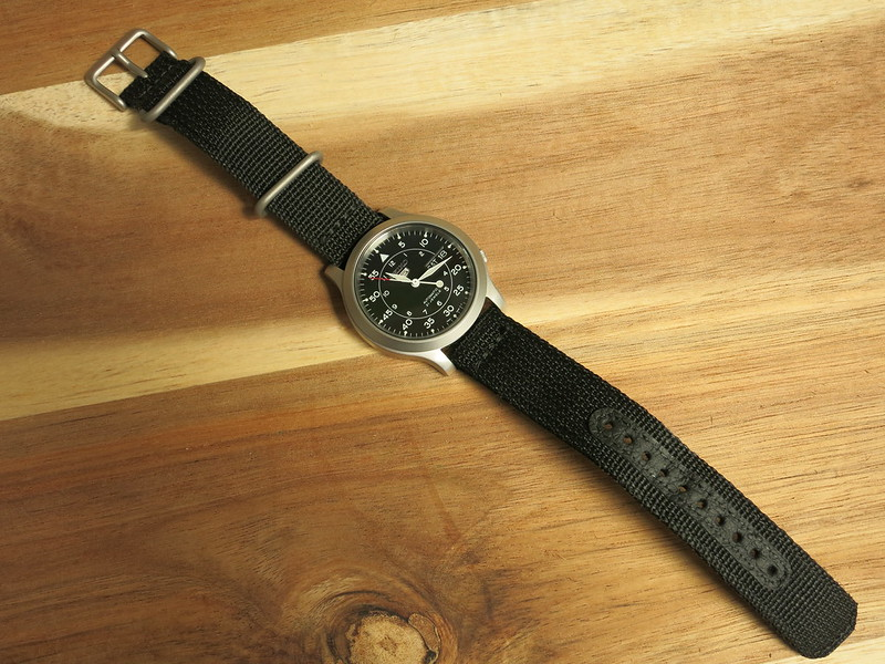 Seiko SNK809 showing canvas band. Source: James Case on Flickr https://www.flickr.com/photos/capcase/49788942308/