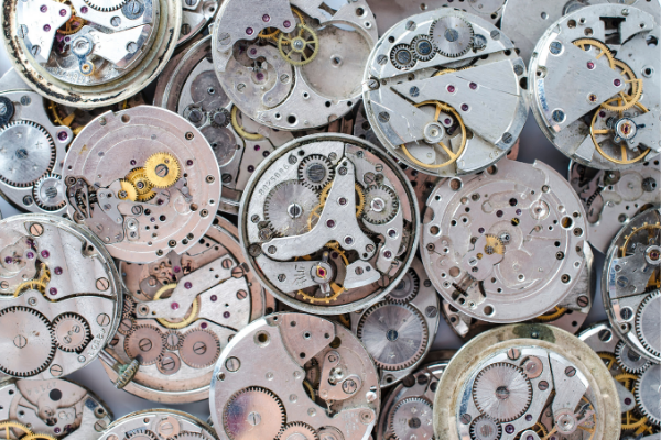 Various Watch Movements. The Seiko SARB035 uses the 6415 movement, and the caliber is visible through the back of the watch.