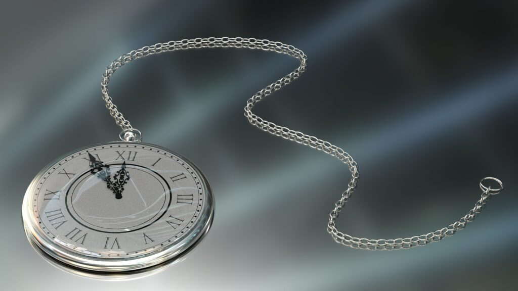 Modern pocket watch with silver chain