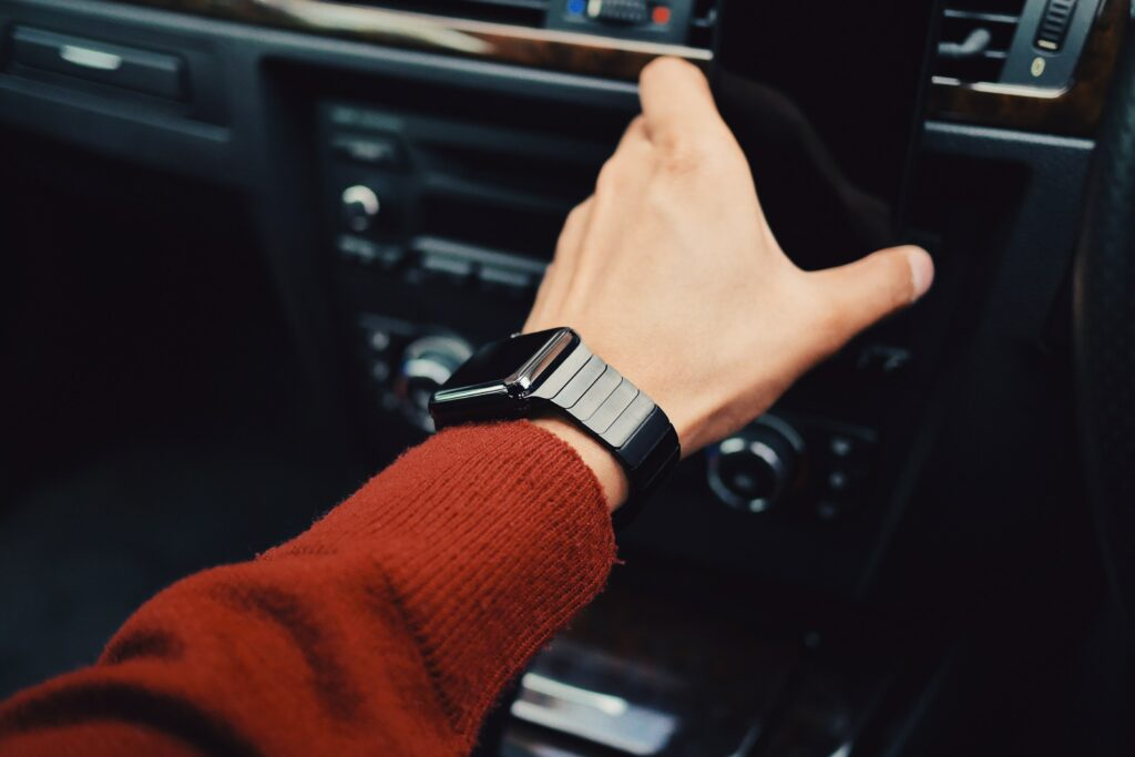 Make Apple watch tightly on the wrist. Left arm wearing an apple watch.