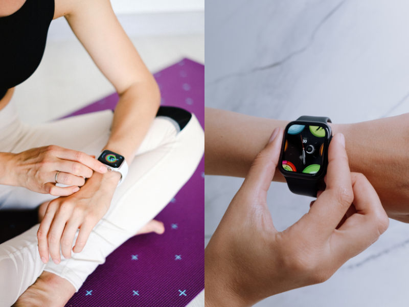 Apple Watch being Used for Yoga.  One picture shows woman in lotus pose; the other shows a close up of another watch