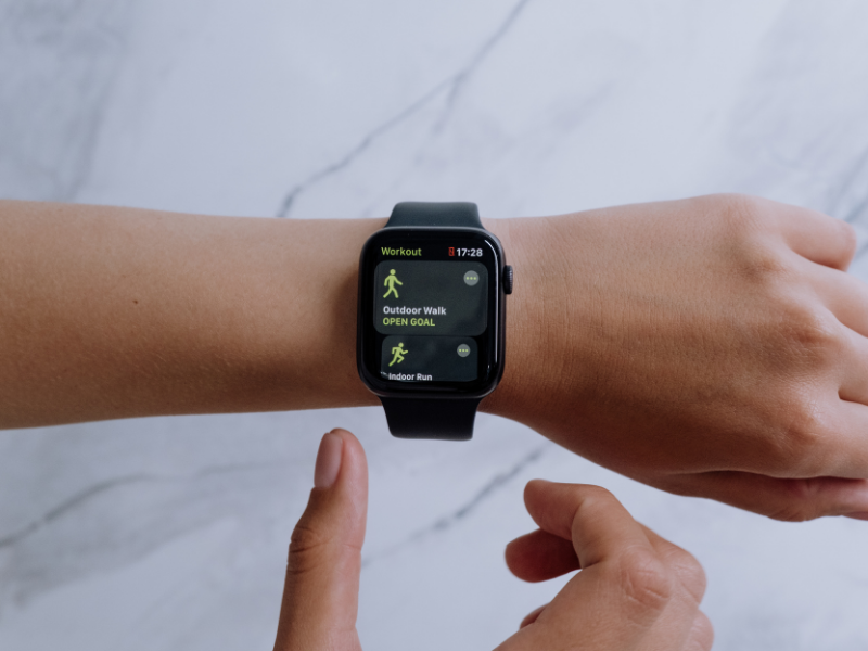 Apple watch with a workout routine.  Your Apple watch needs to fit snugly so that it makes good contact with your skin.