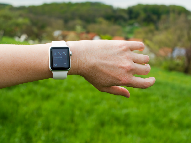 Person Outside with Apple Watch on Arm