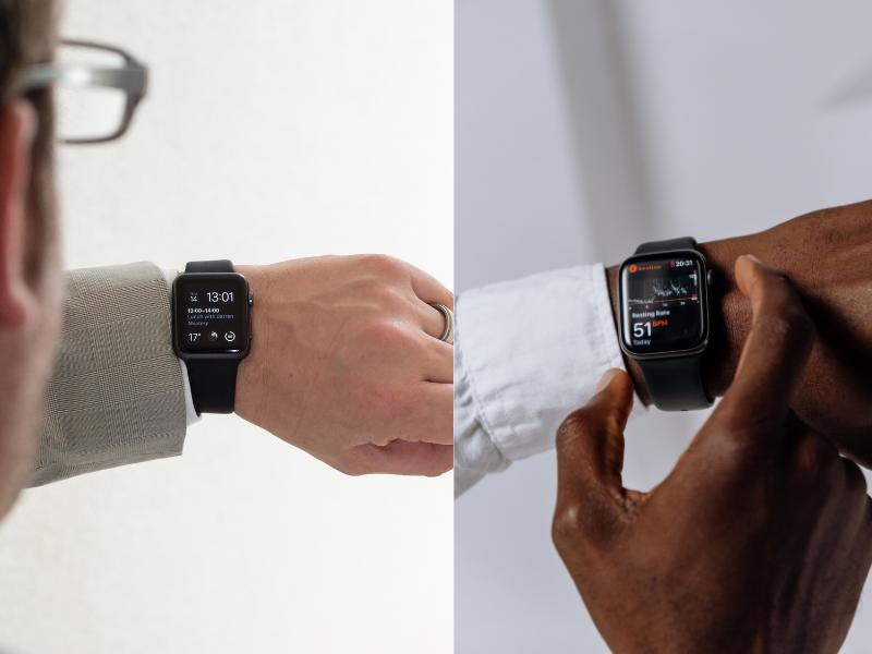 Two pictures of Apple Watches on Men's wrists.  One is being used to check the calendar, and the other is monitoring heart rate.  The Apple watch should be tight enough so that it makes good contact with your wrist.