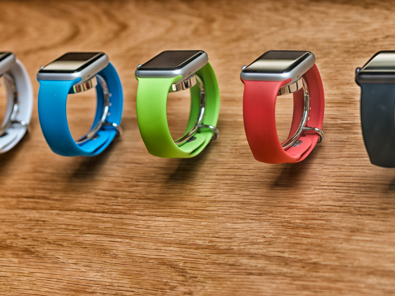 Group of Apple Watches with Different Colored Bands. How Tight should Apple Watch Be?