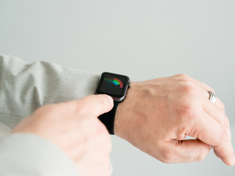 Man's hand showing Apple Watch with Activity Monitoring.  Apple Watch Second Generation Series 1 was available in 42 mm only