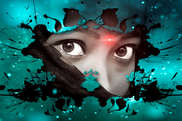Woman's eyes partially hidden behind mysterious  graphics.  To give the impression shrouded in mystery.  Maybe you wear a watch on your right hand to indicate you are part of a particular organization.